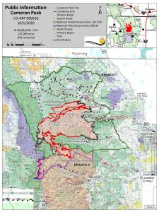 Cameron Peak Fire Information Map for October 1, 2020