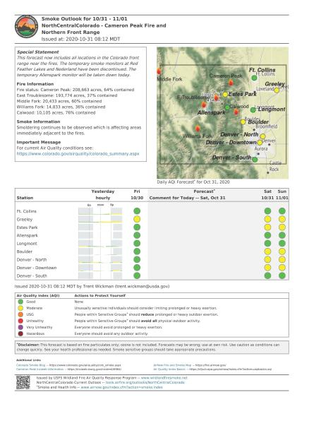 Cameron Peak fire smoke report Saturday October 31