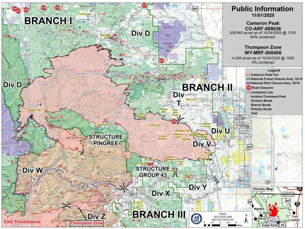 Cameron Peak fire information map, Sunday November 1