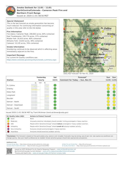 Cameron Peak fire smoke report Sunday, November 1