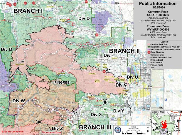 Cameron Peak Fire Information Map, Mon., Nov 2