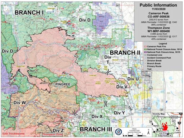 Cameron Peak Fire Information Map, Tues., Nov 3