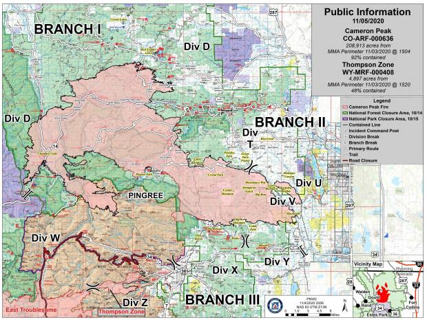 Cameron Peak Fire Information Map - Thur, Nov 5