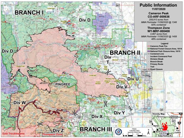 Cameron Peak Fire Information Map - Sat, Nov 7