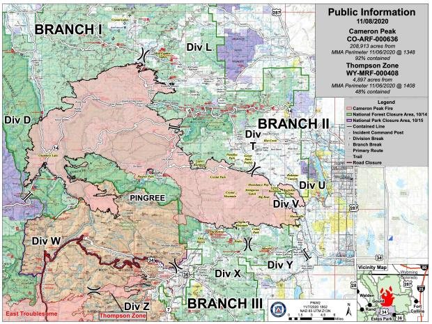 Cameron Peak Fire Information Map - Sunday, Nov 8