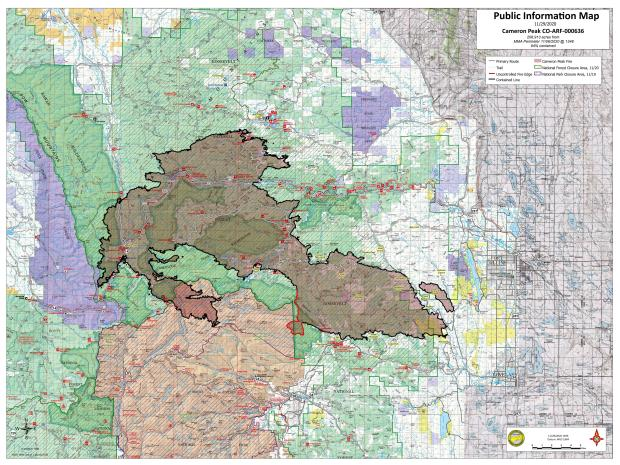 Cameron Peak Fire Map Nov 29, 2020