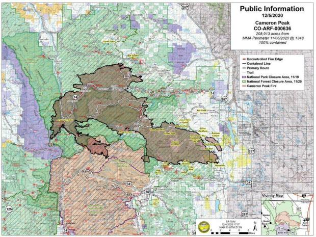 Cameron Peak Fire PIO Map Showing 100% Containment12-5-2020