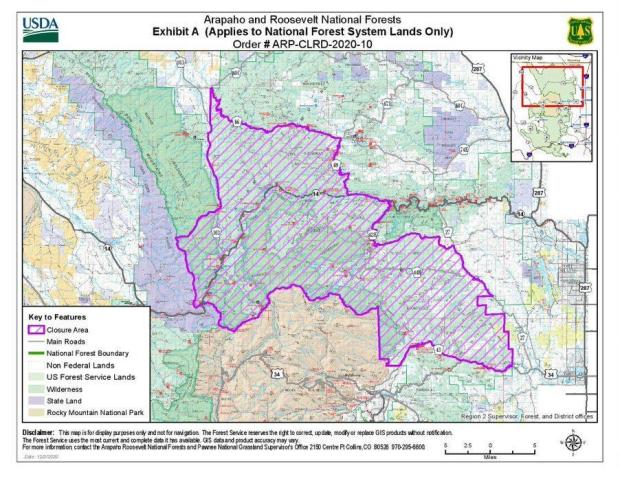 Cameron Peak Fire Closure Map 12-4-2020
