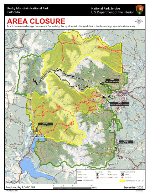 Map of the closure area for Rocky Mountain National Park