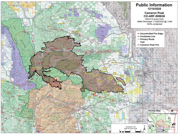 Map showing the fire area and perimeter with black line along the entire edge showing 100% containment and 208,913 acres. Map is for December 10, 2020