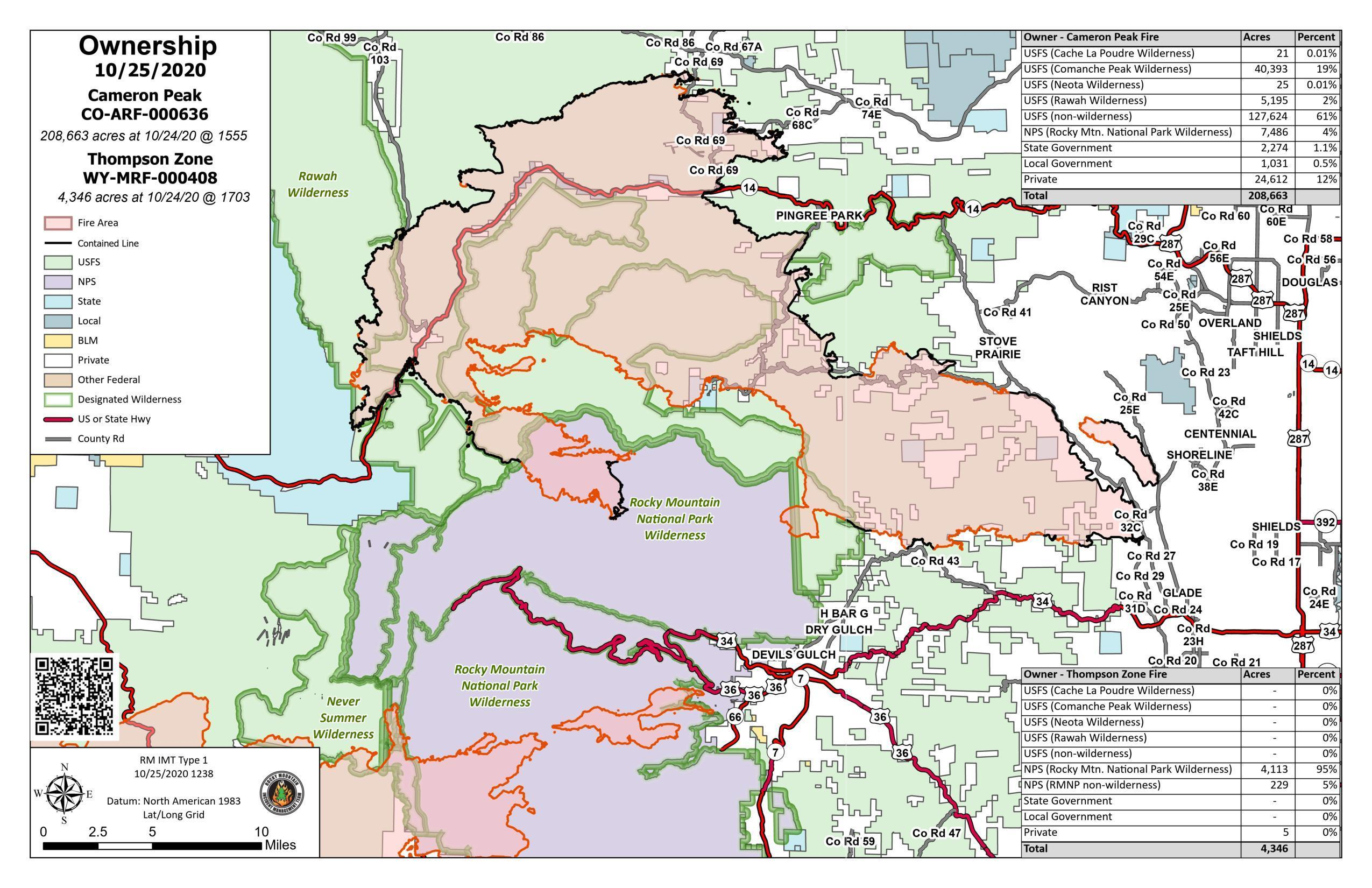 ownership map showing portion of land within fire perimeter