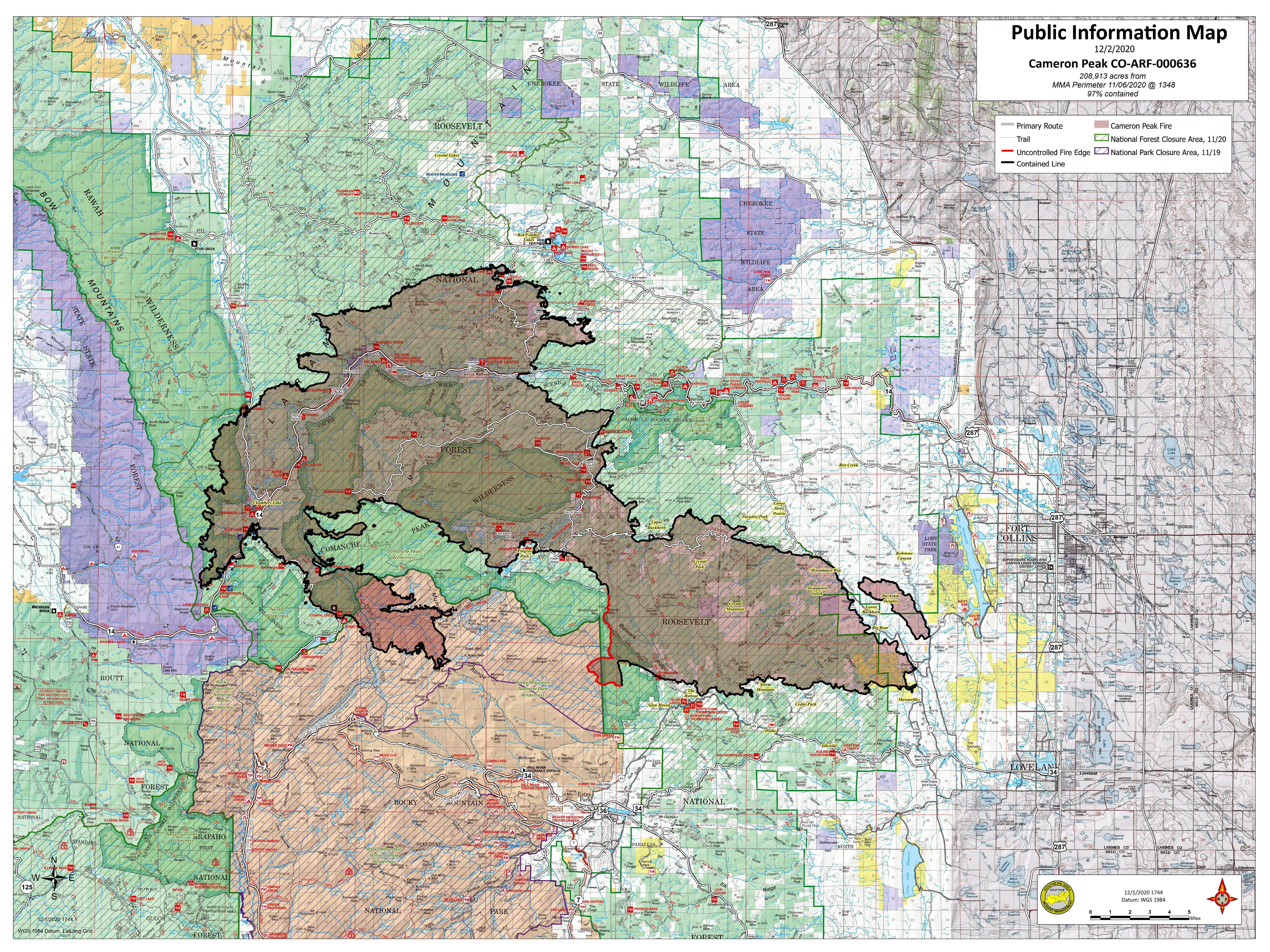 Cameron Peak Fire Map-December 2, 2020