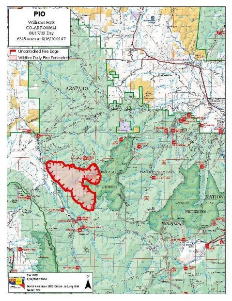 Williams Fork Fire perimeter map 8/17/20