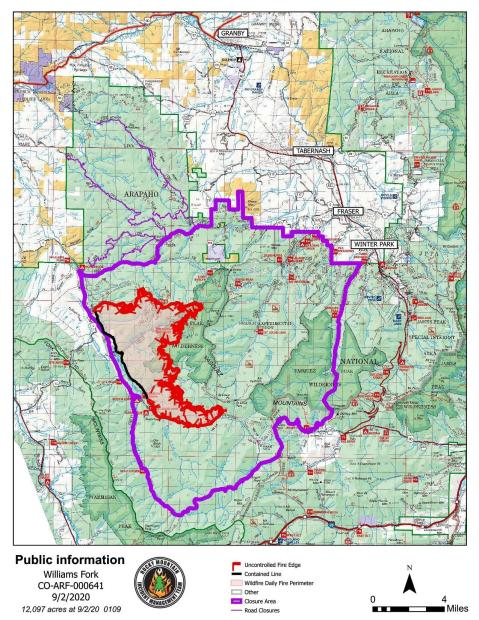 Williams Fork Fire Public Information Map 9-2-2020