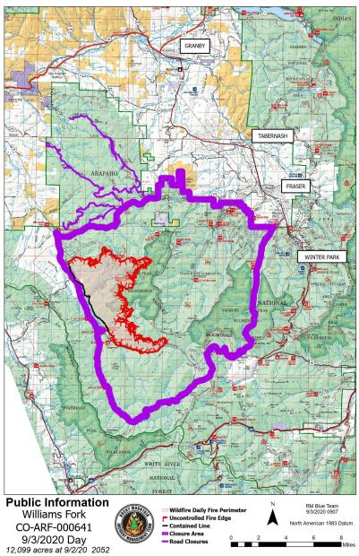 Williams Fork Fire Map 9-3-2020