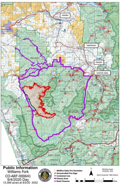 Williams Fork Fire Public Information Map 9-4-2020
