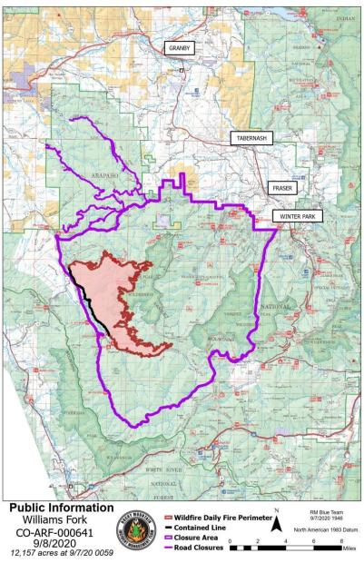 Williams Fork Fire map 9-8-2020