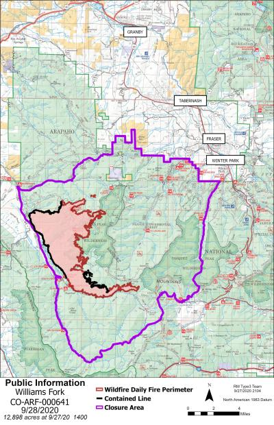 map showing fire and closure area