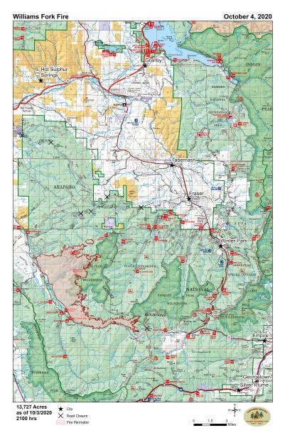 Map that shows the perimeter of the fire