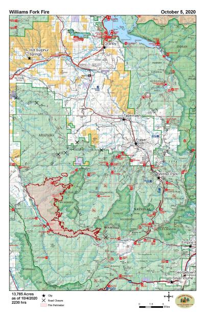 A map that shows the perimeter of the Williams Fork Fire on October 5th