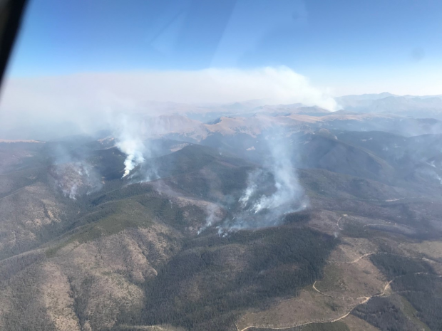 An aerial view of the Williams Fork Fire