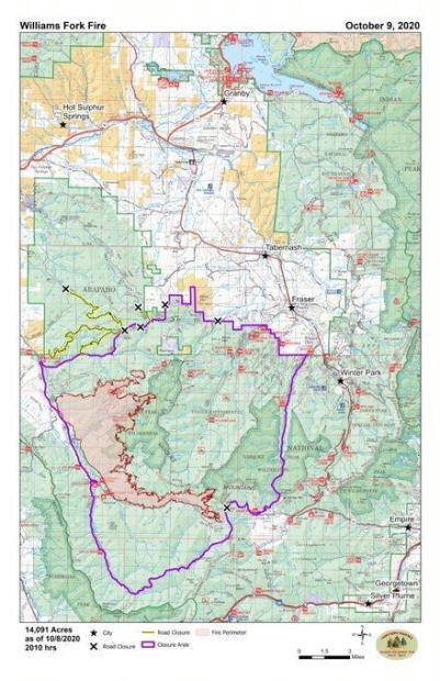 Map of the Williams Fork fire area and road closures