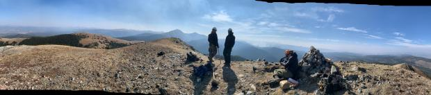 A panorama photo of lookouts on the Williams Fork Fire