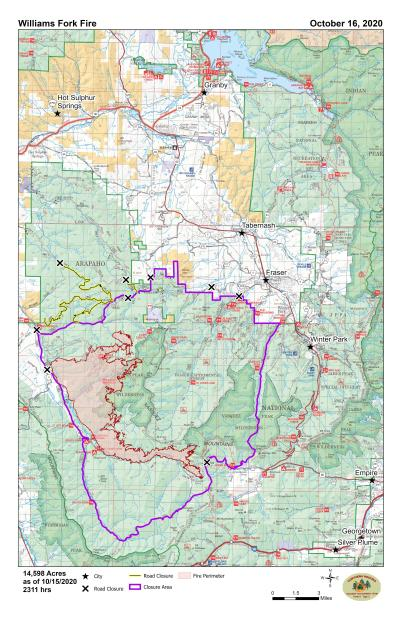 Map of the Williams Fork Fire 101620