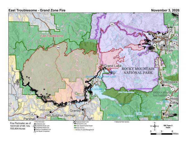 East Troublesome PIO Map for Nov. 3, 2020