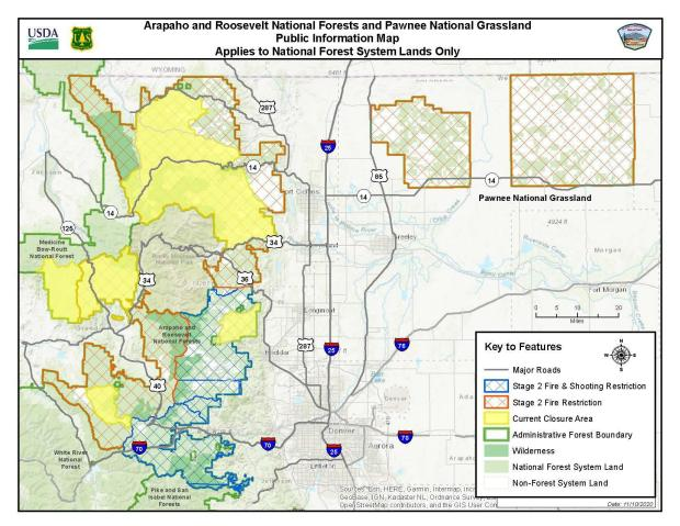 Map of fire area closures and fire restricitons