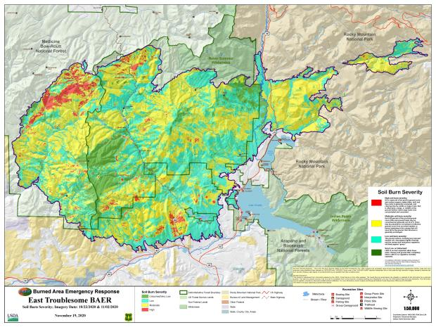 shows levels of intensity of burned soil for east troublesome fire