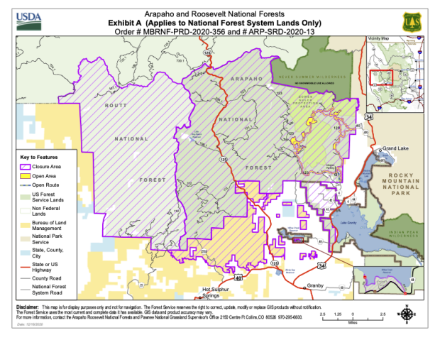 Shows closure area on Arapaho, Roosevelt, and Routt National Forest.