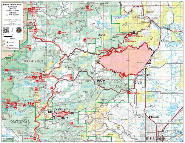 October 20 CalWood and Lefthand Canyon Fire Map