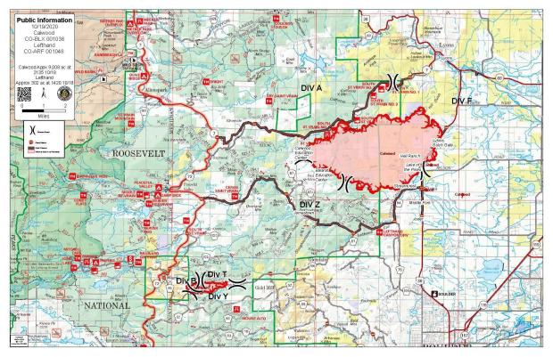 October 19 CalWood and Lefthand Canyon Fire Map