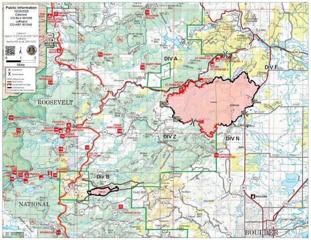 October 23 CalWood and Lefthand Canyon Fire Map
