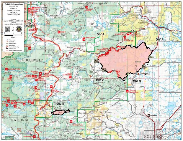 October 24 CalWood and Lefthand Canyon Fire Map