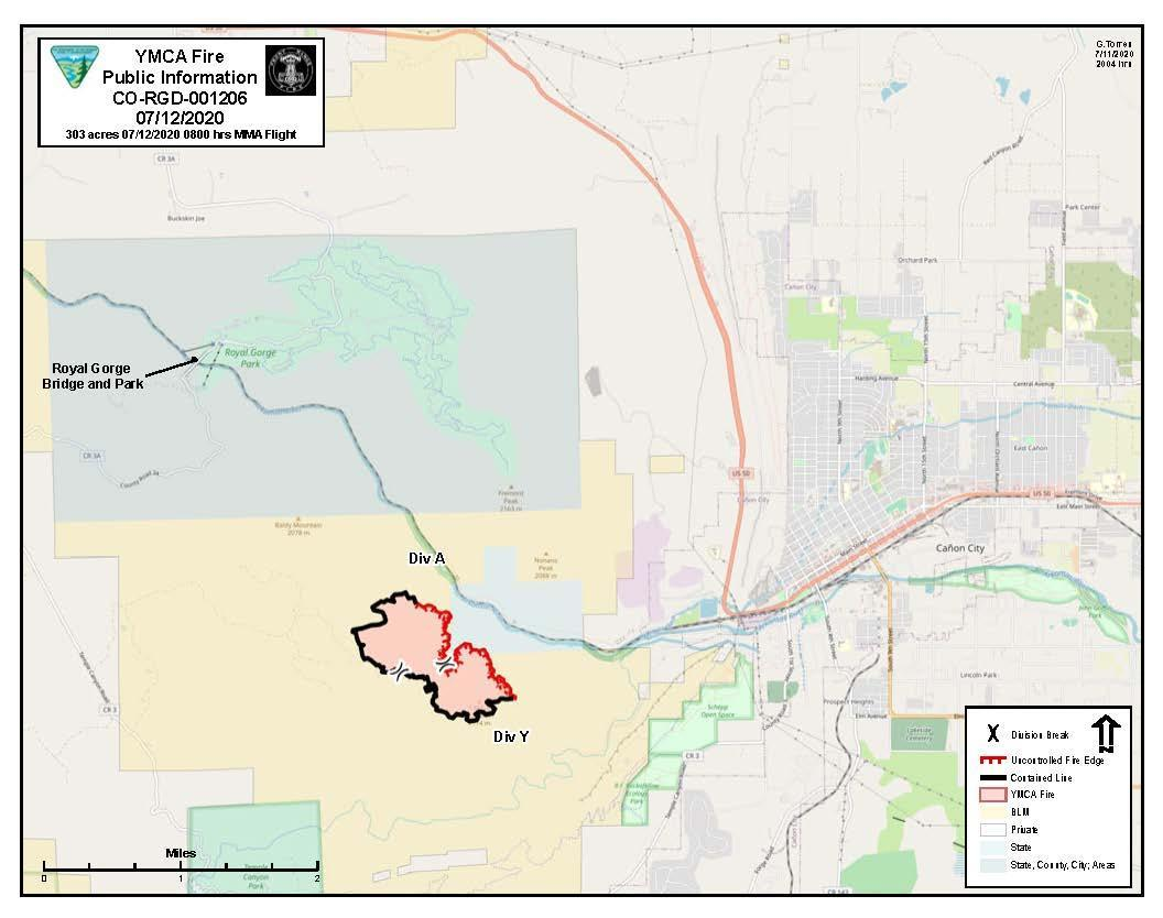 YMCA Fire map showing current perimeter and containment based on MMA flight at 8 AM July 12