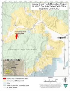 A map showing the location of the Squaw Creek prescribed fire unit, 17 miles west of Saguache, Colorado.