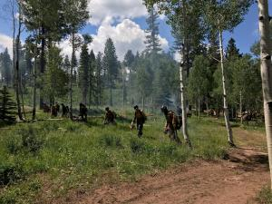 Ruby Mountain Hot Shots using drip torches to light fire line.