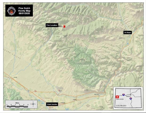 The shaded relief map shows the proximity of the Pine Gulch Fire to De Beque and Grand Junction