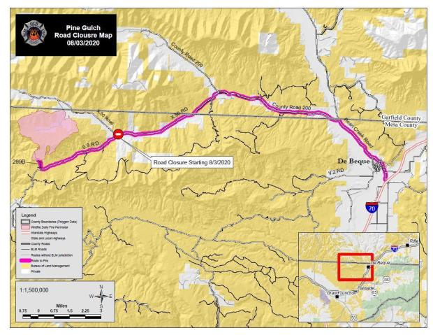 The map shows BLM lands in yellow, private lands in white, County Road 200 west out of De Beque is highlighted in bright pink, and the fire area is shown in light pink as of August 3.