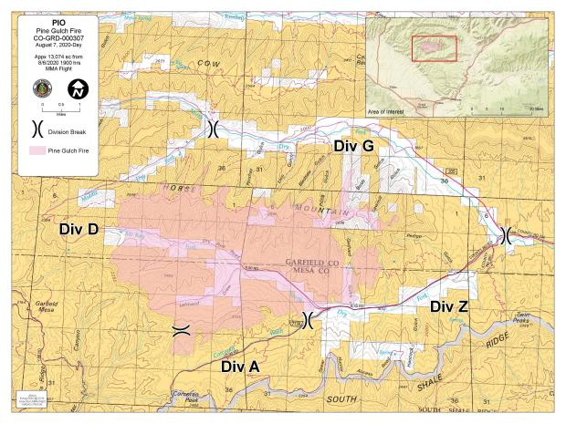 The Pine Gulch Fire Perimeter is shown in red on the map. Grand Junction is southwest of the fire, De Beque is west-southwest of the fire.
