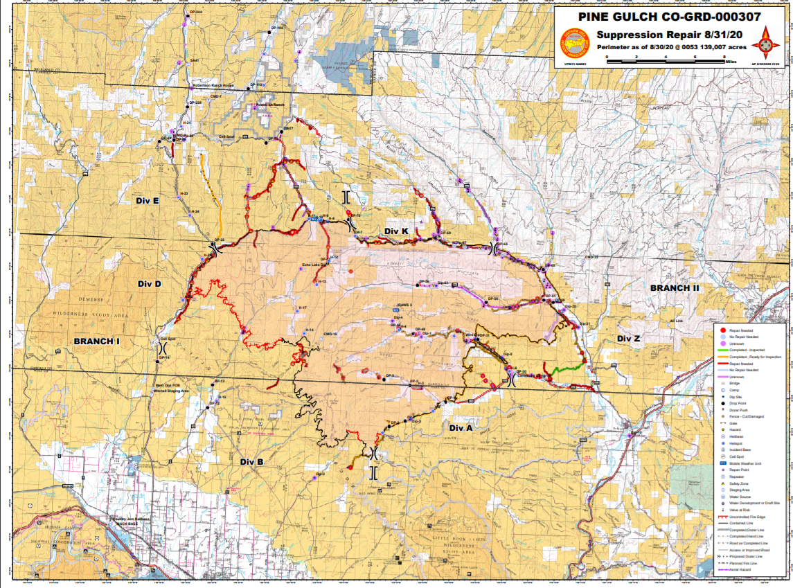 Roads to be repaired in and around the Pine Gulch Fire
