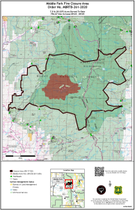 The map shows the Middle Fork Fire perimeter as a red polygon. A black line describes the closure area boundary.