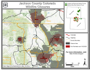 Jackson County Fire Closure Map for the Mullen, Middle Fork, East Troublesome, and Cameron Peak Fires