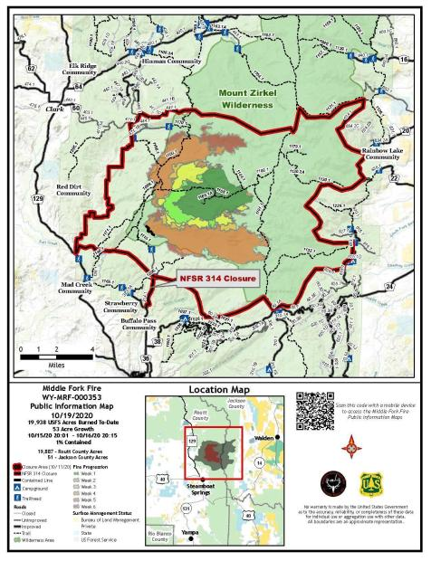 PIO Map showing fire perimeter and closure areas