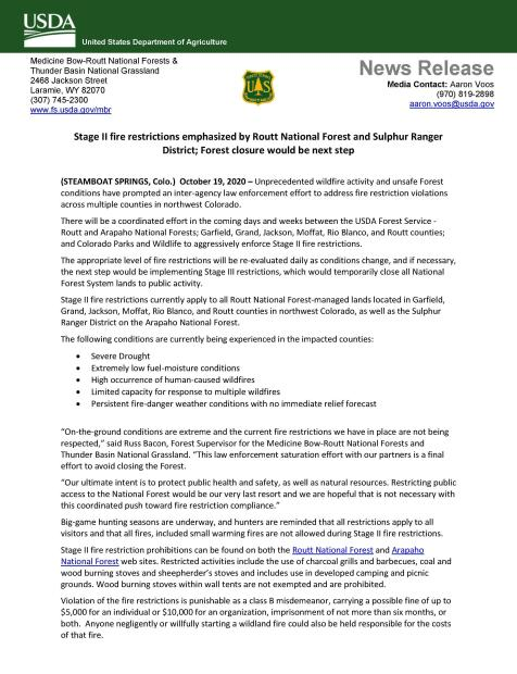 News Release for Stage 2 Fire Restrictions Page 1