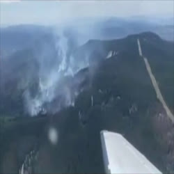 Aerial View of the fire at mid-morning 6-22-21