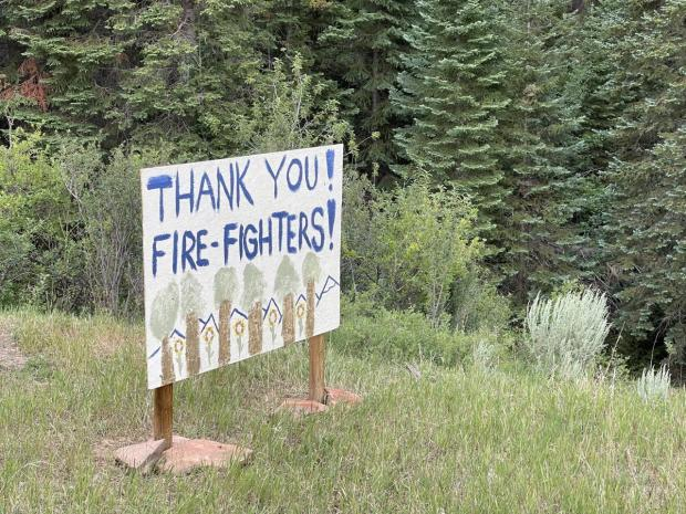 Firefighters appreciate the banners and posters from the public.