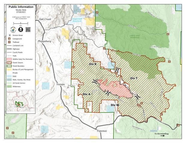 Muddy Slide Fire Map For July 8, 2021